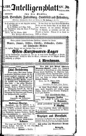 Intelligenzblatt für die Städte Oels, Bernstadt, Juliusburg, Hundsfeld und Festenberg on Oct 19, 1858