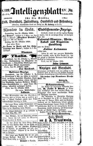 Intelligenzblatt für die Städte Oels, Bernstadt, Juliusburg, Hundsfeld und Festenberg vom 21.10.1858