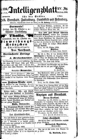 Intelligenzblatt für die Städte Oels, Bernstadt, Juliusburg, Hundsfeld und Festenberg vom 26.10.1858