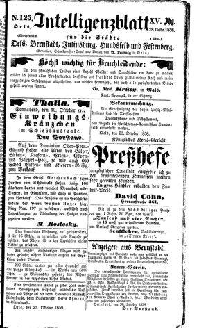 Intelligenzblatt für die Städte Oels, Bernstadt, Juliusburg, Hundsfeld und Festenberg on Oct 28, 1858
