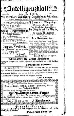 Intelligenzblatt für die Städte Oels, Bernstadt, Juliusburg, Hundsfeld und Festenberg vom 30.10.1858