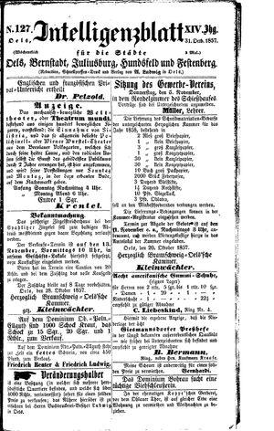 Intelligenzblatt für die Städte Oels, Bernstadt, Juliusburg, Hundsfeld und Festenberg vom 31.10.1858