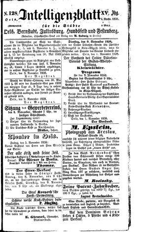Intelligenzblatt für die Städte Oels, Bernstadt, Juliusburg, Hundsfeld und Festenberg on Nov 4, 1858