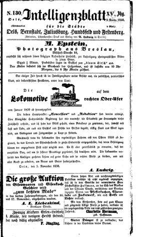 Intelligenzblatt für die Städte Oels, Bernstadt, Juliusburg, Hundsfeld und Festenberg vom 09.11.1858
