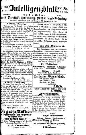 Intelligenzblatt für die Städte Oels, Bernstadt, Juliusburg, Hundsfeld und Festenberg vom 16.11.1858