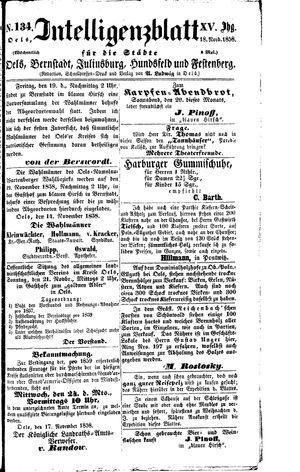 Intelligenzblatt für die Städte Oels, Bernstadt, Juliusburg, Hundsfeld und Festenberg on Nov 18, 1858