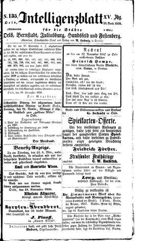 Intelligenzblatt für die Städte Oels, Bernstadt, Juliusburg, Hundsfeld und Festenberg vom 20.11.1858