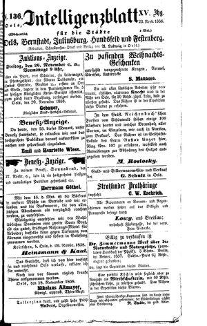 Intelligenzblatt für die Städte Oels, Bernstadt, Juliusburg, Hundsfeld und Festenberg vom 23.11.1858