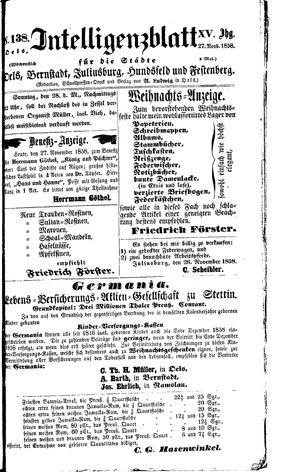 Intelligenzblatt für die Städte Oels, Bernstadt, Juliusburg, Hundsfeld und Festenberg vom 27.11.1858