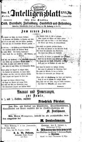 Intelligenzblatt für die Städte Oels, Bernstadt, Juliusburg, Hundsfeld und Festenberg vom 01.01.1859