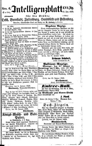 Intelligenzblatt für die Städte Oels, Bernstadt, Juliusburg, Hundsfeld und Festenberg vom 13.01.1859