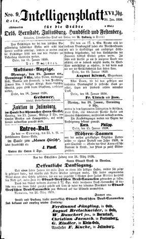 Intelligenzblatt für die Städte Oels, Bernstadt, Juliusburg, Hundsfeld und Festenberg vom 20.01.1859