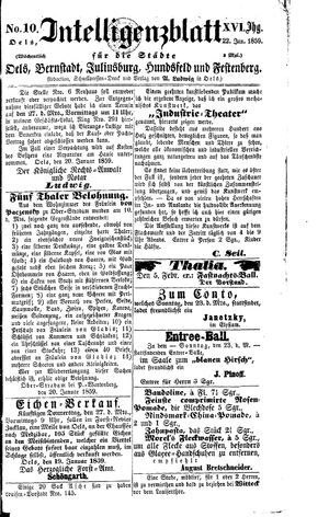 Intelligenzblatt für die Städte Oels, Bernstadt, Juliusburg, Hundsfeld und Festenberg vom 22.01.1859