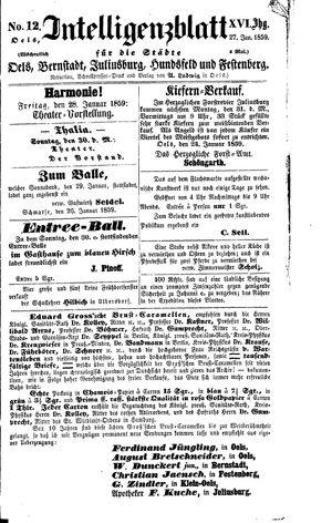 Intelligenzblatt für die Städte Oels, Bernstadt, Juliusburg, Hundsfeld und Festenberg vom 27.01.1859
