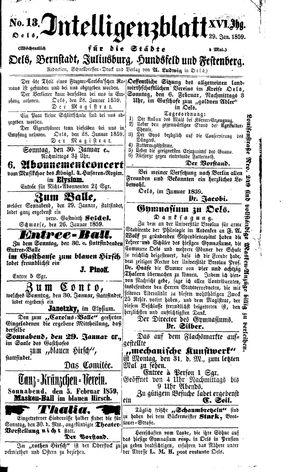 Intelligenzblatt für die Städte Oels, Bernstadt, Juliusburg, Hundsfeld und Festenberg vom 29.01.1859