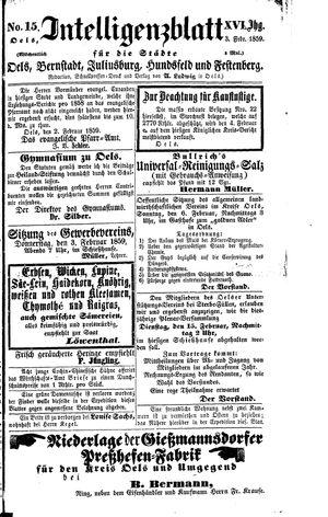 Intelligenzblatt für die Städte Oels, Bernstadt, Juliusburg, Hundsfeld und Festenberg on Feb 3, 1859