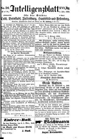Intelligenzblatt für die Städte Oels, Bernstadt, Juliusburg, Hundsfeld und Festenberg vom 05.02.1859