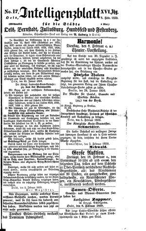 Intelligenzblatt für die Städte Oels, Bernstadt, Juliusburg, Hundsfeld und Festenberg vom 08.02.1859
