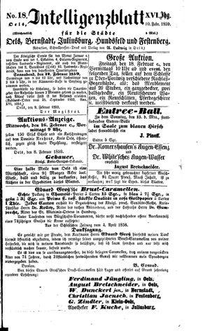 Intelligenzblatt für die Städte Oels, Bernstadt, Juliusburg, Hundsfeld und Festenberg vom 10.02.1859