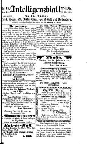 Intelligenzblatt für die Städte Oels, Bernstadt, Juliusburg, Hundsfeld und Festenberg vom 12.02.1859