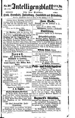 Intelligenzblatt für die Städte Oels, Bernstadt, Juliusburg, Hundsfeld und Festenberg vom 15.02.1859