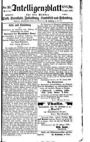 Intelligenzblatt für die Städte Oels, Bernstadt, Juliusburg, Hundsfeld und Festenberg vom 17.02.1859