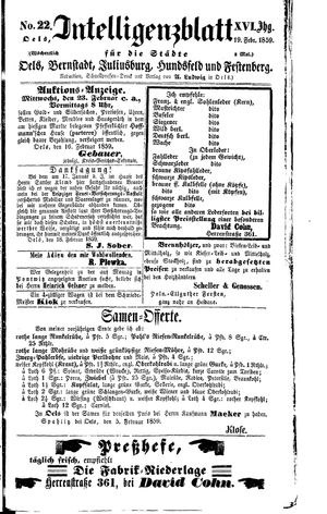 Intelligenzblatt für die Städte Oels, Bernstadt, Juliusburg, Hundsfeld und Festenberg vom 19.02.1859