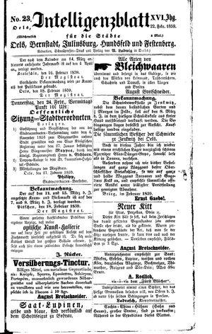 Intelligenzblatt für die Städte Oels, Bernstadt, Juliusburg, Hundsfeld und Festenberg vom 22.02.1859