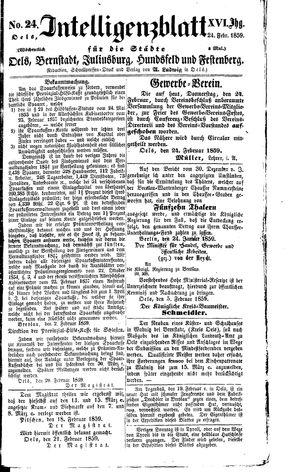 Intelligenzblatt für die Städte Oels, Bernstadt, Juliusburg, Hundsfeld und Festenberg vom 24.02.1859