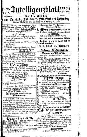 Intelligenzblatt für die Städte Oels, Bernstadt, Juliusburg, Hundsfeld und Festenberg vom 26.02.1859