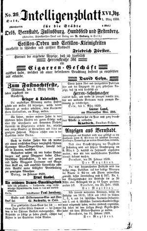 Intelligenzblatt für die Städte Oels, Bernstadt, Juliusburg, Hundsfeld und Festenberg vom 01.03.1859