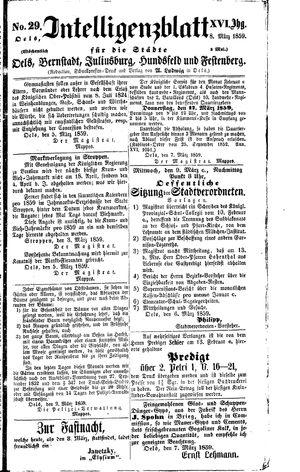 Intelligenzblatt für die Städte Oels, Bernstadt, Juliusburg, Hundsfeld und Festenberg on Mar 8, 1859