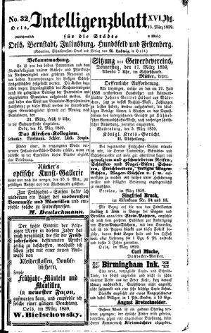 Intelligenzblatt für die Städte Oels, Bernstadt, Juliusburg, Hundsfeld und Festenberg on Mar 15, 1859