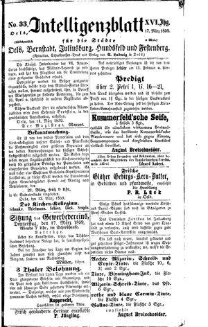 Intelligenzblatt für die Städte Oels, Bernstadt, Juliusburg, Hundsfeld und Festenberg on Mar 17, 1859