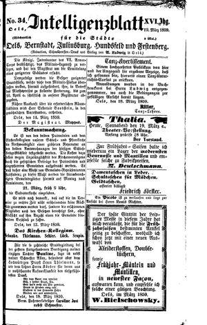 Intelligenzblatt für die Städte Oels, Bernstadt, Juliusburg, Hundsfeld und Festenberg vom 19.03.1859