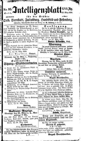 Intelligenzblatt für die Städte Oels, Bernstadt, Juliusburg, Hundsfeld und Festenberg vom 22.03.1859
