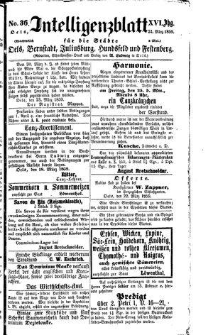 Intelligenzblatt für die Städte Oels, Bernstadt, Juliusburg, Hundsfeld und Festenberg vom 24.03.1859