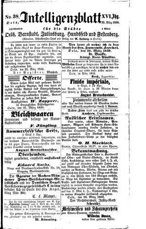 Intelligenzblatt für die Städte Oels, Bernstadt, Juliusburg, Hundsfeld und Festenberg vom 28.03.1859