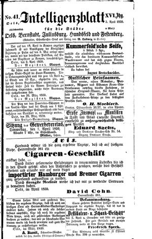 Intelligenzblatt für die Städte Oels, Bernstadt, Juliusburg, Hundsfeld und Festenberg vom 05.04.1859