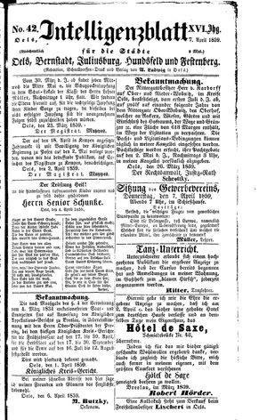 Intelligenzblatt für die Städte Oels, Bernstadt, Juliusburg, Hundsfeld und Festenberg vom 07.04.1859