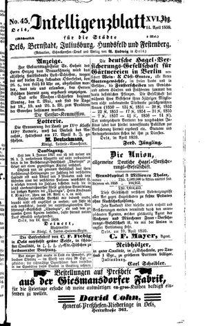 Intelligenzblatt für die Städte Oels, Bernstadt, Juliusburg, Hundsfeld und Festenberg vom 14.04.1859