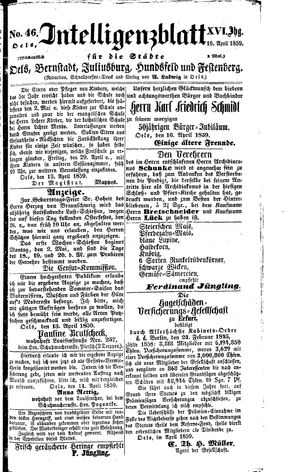 Intelligenzblatt für die Städte Oels, Bernstadt, Juliusburg, Hundsfeld und Festenberg vom 16.04.1859