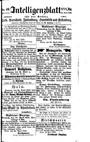 Intelligenzblatt für die Städte Oels, Bernstadt, Juliusburg, Hundsfeld und Festenberg on Apr 23, 1859