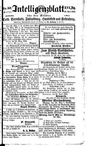 Intelligenzblatt für die Städte Oels, Bernstadt, Juliusburg, Hundsfeld und Festenberg on Apr 28, 1859