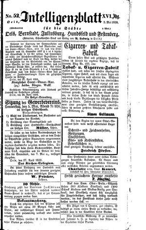 Intelligenzblatt für die Städte Oels, Bernstadt, Juliusburg, Hundsfeld und Festenberg vom 03.05.1859