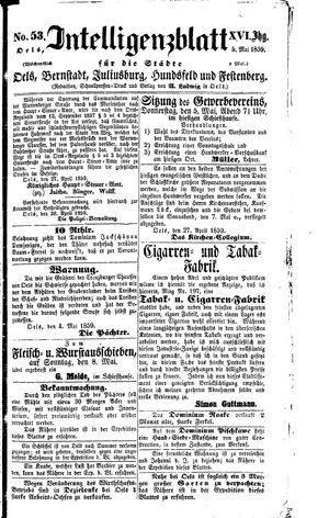 Intelligenzblatt für die Städte Oels, Bernstadt, Juliusburg, Hundsfeld und Festenberg vom 05.05.1859