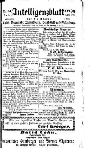 Intelligenzblatt für die Städte Oels, Bernstadt, Juliusburg, Hundsfeld und Festenberg vom 07.05.1859