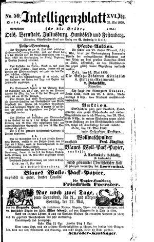 Intelligenzblatt für die Städte Oels, Bernstadt, Juliusburg, Hundsfeld und Festenberg vom 21.05.1859
