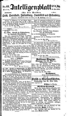 Intelligenzblatt für die Städte Oels, Bernstadt, Juliusburg, Hundsfeld und Festenberg vom 26.05.1859
