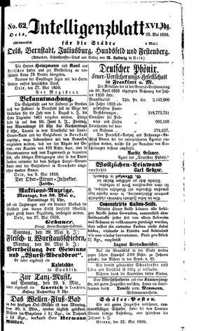 Intelligenzblatt für die Städte Oels, Bernstadt, Juliusburg, Hundsfeld und Festenberg vom 28.05.1859